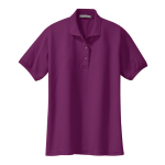 Deep Berry Port Authority Ladies Silk Touch Polo as seen from the front