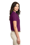 Deep Berry Port Authority Ladies Silk Touch Polo as seen from the sleeveright