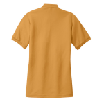 Gold Port Authority Ladies Silk Touch Polo as seen from the back