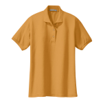 Gold Port Authority Ladies Silk Touch Polo as seen from the front