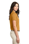 Gold Port Authority Ladies Silk Touch Polo as seen from the sleeveright