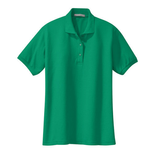 Kelly Green Port Authority Ladies Silk Touch Polo as seen from the front