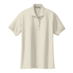 Light Stone Port Authority Ladies Silk Touch Polo as seen from the front