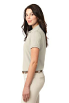 Light Stone Port Authority Ladies Silk Touch Polo as seen from the sleeveleft