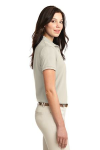 Light Stone Port Authority Ladies Silk Touch Polo as seen from the sleeveright