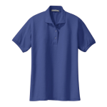 Med. Blue Port Authority Ladies Silk Touch Polo as seen from the front