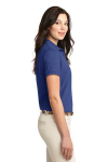 Med. Blue Port Authority Ladies Silk Touch Polo as seen from the sleeveright