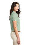 Mint Green Port Authority Ladies Silk Touch Polo as seen from the sleeveright