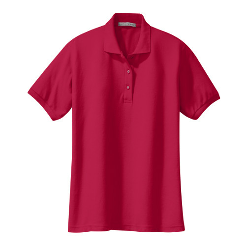 Red Port Authority Ladies Silk Touch Polo as seen from the front