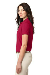 Red Port Authority Ladies Silk Touch Polo as seen from the sleeveleft