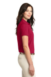 Red Port Authority Ladies Silk Touch Polo as seen from the sleeveright