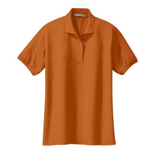 Texas Orange Port Authority Ladies Silk Touch Polo as seen from the front