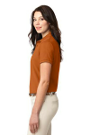 Texas Orange Port Authority Ladies Silk Touch Polo as seen from the sleeveleft