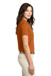 Texas Orange Port Authority Ladies Silk Touch Polo as seen from the sleeveright