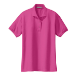 Tropical Pink Port Authority Ladies Silk Touch Polo as seen from the front