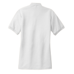 White Port Authority Ladies Silk Touch Polo as seen from the back