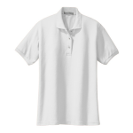 White Port Authority Ladies Silk Touch Polo as seen from the front
