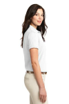 White Port Authority Ladies Silk Touch Polo as seen from the sleeveright