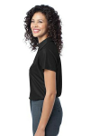 Black Port Authority Ladies Vertical Pique Polo as seen from the sleeveleft