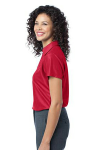 Classic Red Port Authority Ladies Vertical Pique Polo as seen from the sleeveleft