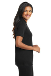 Black Port Authority Ladies Silk Touch Interlock Polo as seen from the sleeveright