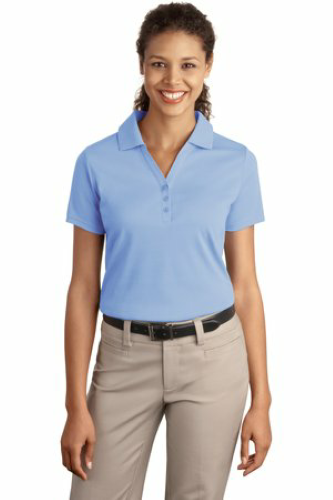 Blue Lake Port Authority Ladies Silk Touch Interlock Polo as seen from the front