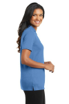 Blue Lake Port Authority Ladies Silk Touch Interlock Polo as seen from the sleeveright