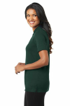 Dark Green Port Authority Ladies Silk Touch Interlock Polo as seen from the sleeveleft