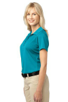 Deep Teal Blue Port Authority Ladies Tech Pique Polo as seen from the sleeveleft