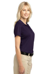 Regal Purple Port Authority Ladies Tech Pique Polo as seen from the sleeveright