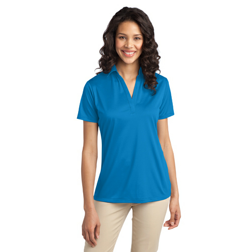 Brilliant Blue Port Authority Ladies Silk Touch Performance Polo as seen from the front