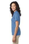 Carolina Blue Port Authority Ladies Silk Touch Performance Polo as seen from the sleeveleft