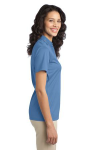 Carolina Blue Port Authority Ladies Silk Touch Performance Polo as seen from the sleeveright