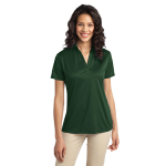 Dark Green Port Authority Ladies Silk Touch Performance Polo as seen from the front