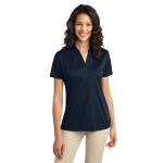 Navy Port Authority Ladies Silk Touch Performance Polo as seen from the front