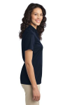 Navy Port Authority Ladies Silk Touch Performance Polo as seen from the sleeveright