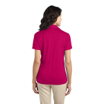 Pink Raspberry Port Authority Ladies Silk Touch Performance Polo as seen from the back
