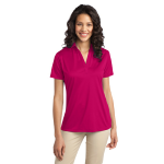 Pink Raspberry Port Authority Ladies Silk Touch Performance Polo as seen from the front