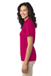 Pink Raspberry Port Authority Ladies Silk Touch Performance Polo as seen from the sleeveleft