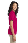 Pink Raspberry Port Authority Ladies Silk Touch Performance Polo as seen from the sleeveright