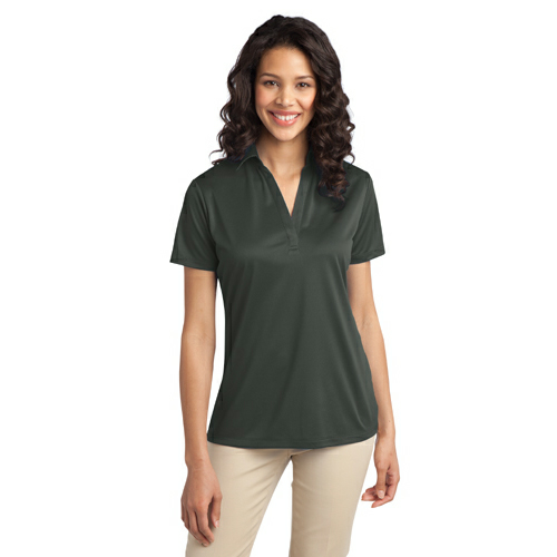Steel Grey Port Authority Ladies Silk Touch Performance Polo as seen from the front