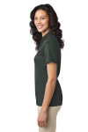 Steel Grey Port Authority Ladies Silk Touch Performance Polo as seen from the sleeveleft