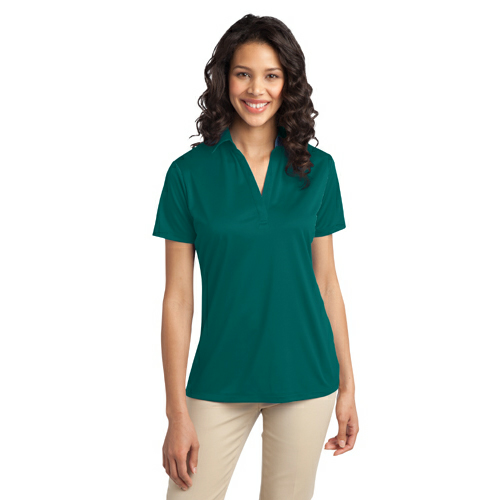 Teal Green Port Authority Ladies Silk Touch Performance Polo as seen from the front