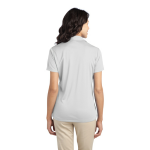 White Port Authority Ladies Silk Touch Performance Polo as seen from the back