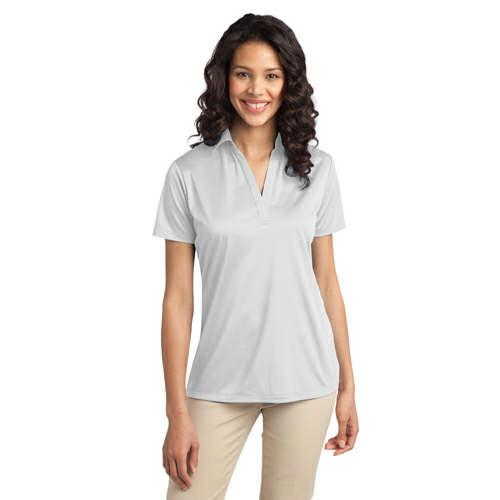 White Port Authority Ladies Silk Touch Performance Polo as seen from the front