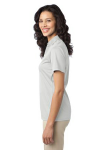 White Port Authority Ladies Silk Touch Performance Polo as seen from the sleeveleft