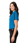 Brilliantbl Bk Port Authority Ladies Silk Touch Performance Colorblock Stripe Polo as seen from the sleeveleft