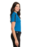 Brilliantbl Bk Port Authority Ladies Silk Touch Performance Colorblock Stripe Polo as seen from the sleeveright