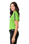 Lime Steel Gy Port Authority Ladies Silk Touch Performance Colorblock Stripe Polo as seen from the sleeveleft