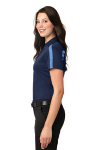 Navy Carolinab Port Authority Ladies Silk Touch Performance Colorblock Stripe Polo as seen from the sleeveleft